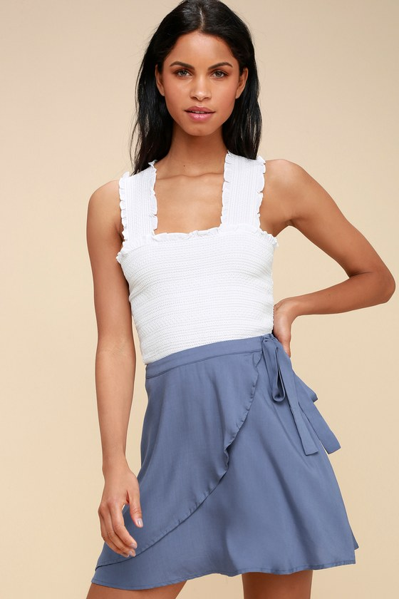 On The Sway Denim Blue Wrap Skirt by Lulus