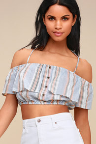 f670e1ea25fe3 Lulus Keep Me Close Blue and Peach Striped Off-the-Shoulder Crop Top