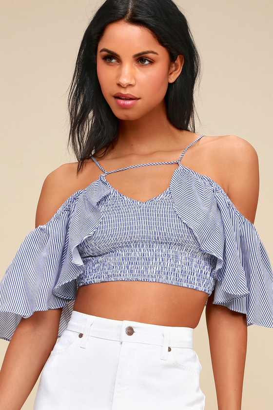 58bf7e8072 Cute Crop Top - Blue and White Striped Top - Off-the-Shoulder Top