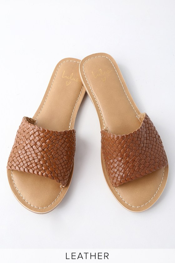 cute slide sandals woven sandals brown sandals