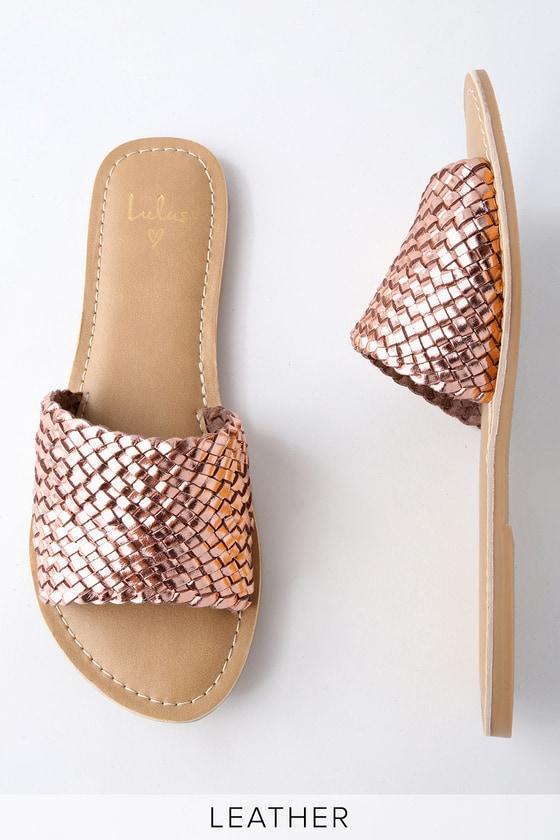 Lulus Maddie Woven Leather Slide Sandal Heels - Lulus 9CXUvNo5