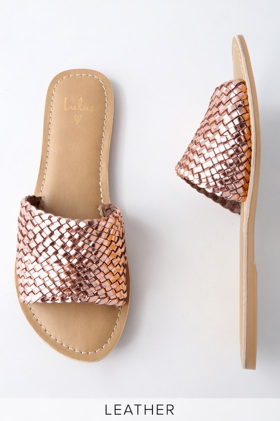 Lulus Maddie Woven Leather Slide Sandal Heels - Lulus 4vk0YJi