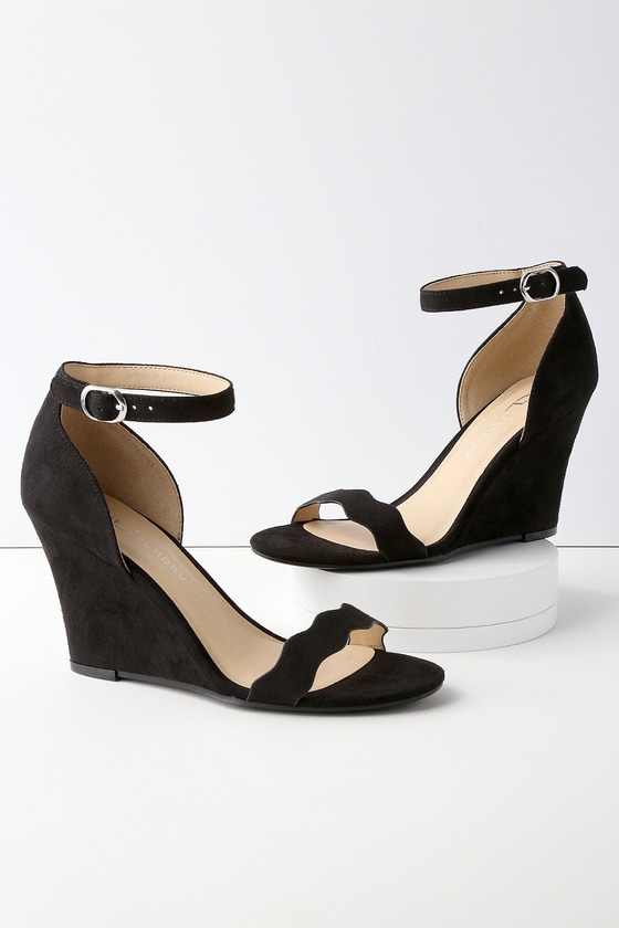 a7fc88b51e CL by Chinese Laundry Brighter - Black Ankle Strap Wedges