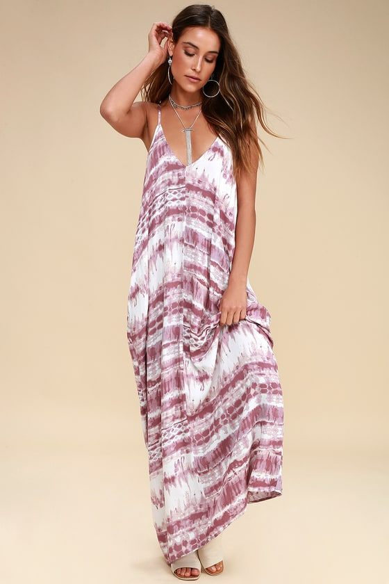 6eac611c54 Boho Mauve Maxi Dress - Casual Dress - Tie-Dye Dress