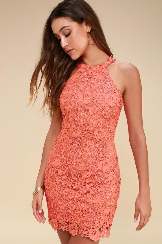 Lace Dress Coral Orange Dress Sleeveless Dress