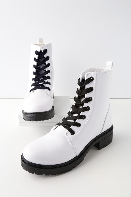 Cool White Boots - Combat Boots - Lace