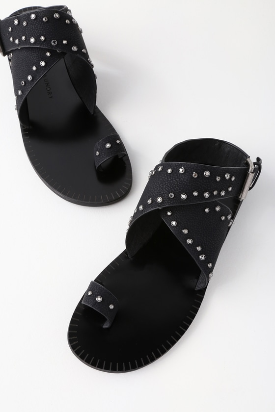 Jessa Black Nubuck Rhinestone Sandals by Chinese Laundry
