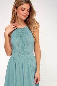 Cute Navy Blue Floral Print Dress Off The Shoulder Dress