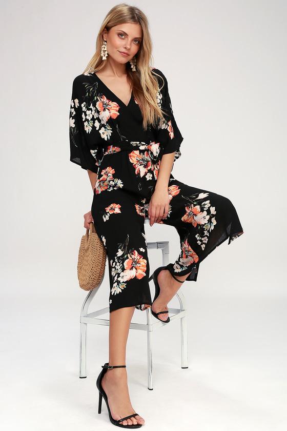 00f9918eb906 Cool Black Culotte Jumpsuit - Floral Print Jumpsuit
