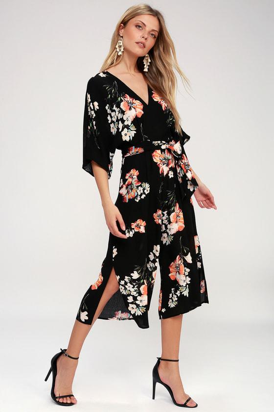 f21ddea6c03 Cool Black Culotte Jumpsuit - Floral Print Jumpsuit