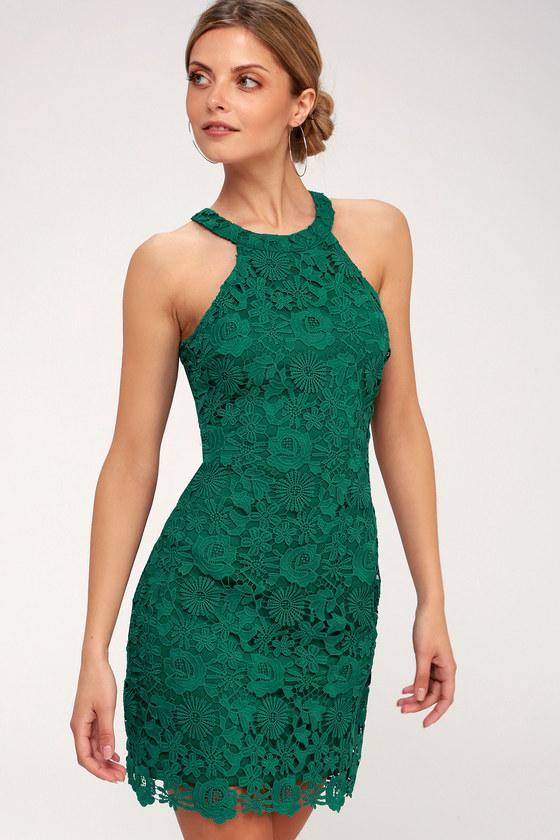 d0583cba09d913 Lace Dress - Green Dress - Sleeveless Dress