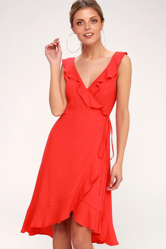 df530357f55 Cute Coral Red Dress - Wrap Dress - Ruffled Midi Dress