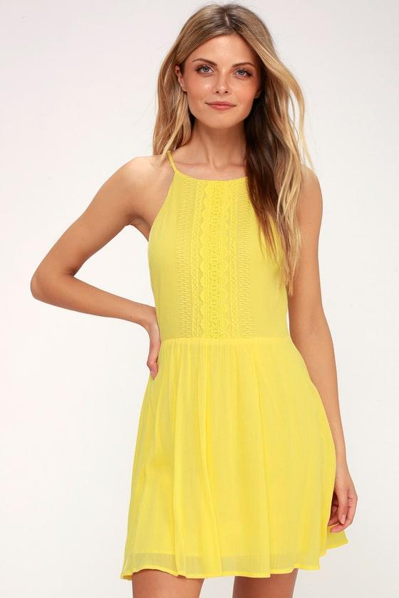 Cute Yellow Dress Crochet Lace Dress Sundress