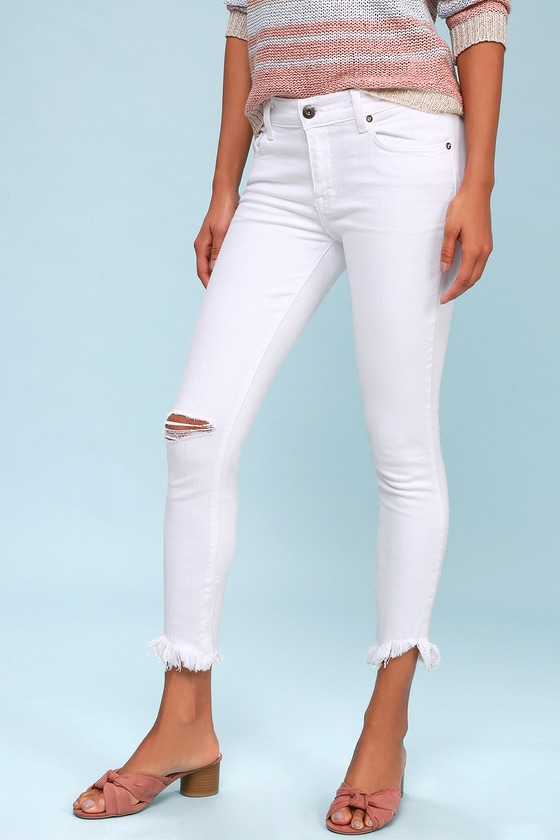 Audrey White Distressed Skinny Jeans