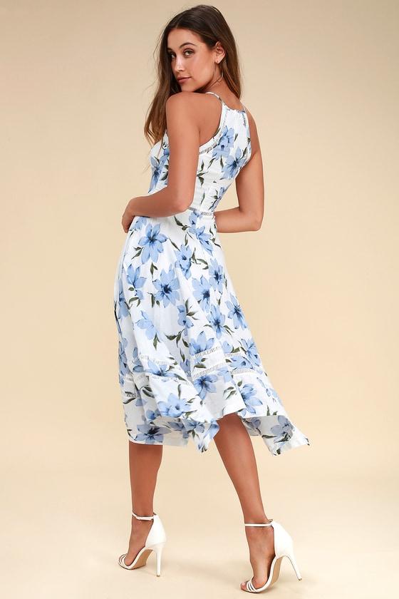 c7a252743 Lovely Blue and White Dress - Floral Print Dress -Midi Dress