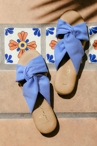 797d847fd0a Santana Blue Striped Slide Sandals