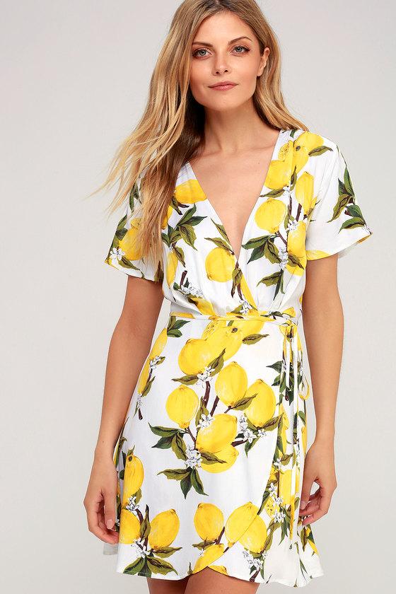 51764018fa98 Flirty White and Yellow Lemon Print Dress - Lemon Wrap Dress