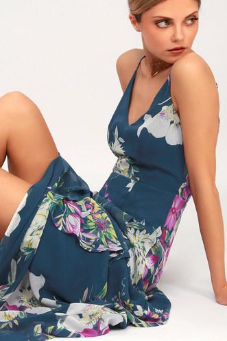 79d7e2efef52 Passion Island Teal Blue Floral Print Maxi Dress
