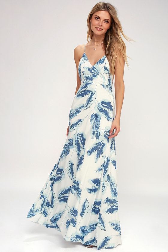 522bb61a73 Cute Blue and White Dress - Feather Print Dress - Maxi Dress
