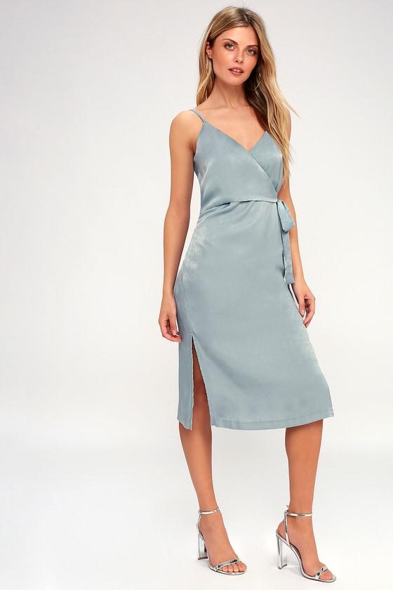9b1603b7d95 J.O.A. Satin Dress - Midi Wrap Dress - Mint Blue Dress