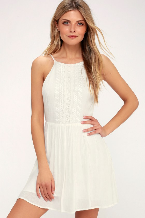Cute White Dress Crochet Lace Dress Sundress