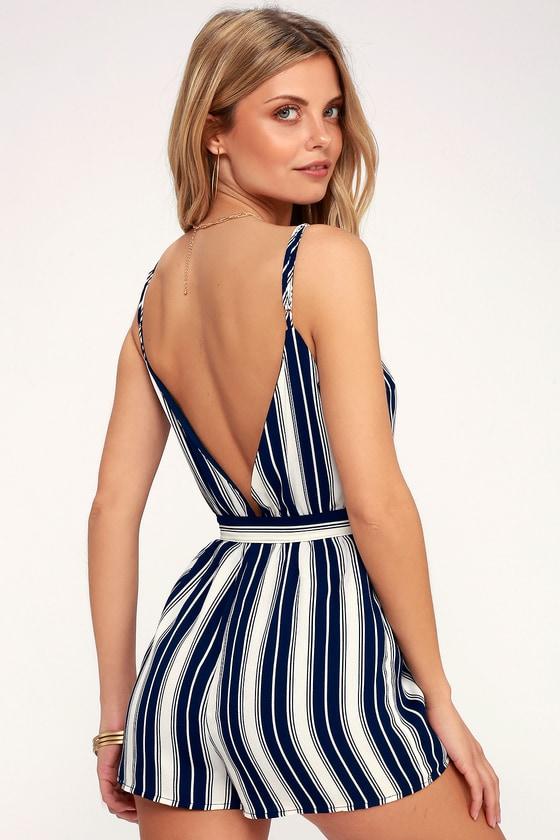 bf6a0e8f875 Cute Striped Romper - Navy Blue and White Romper