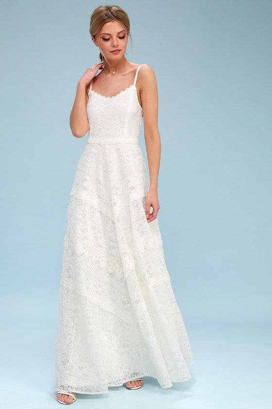 FAITHFULLY YOURS WHITE LACE BACKLESS MAXI DRESS