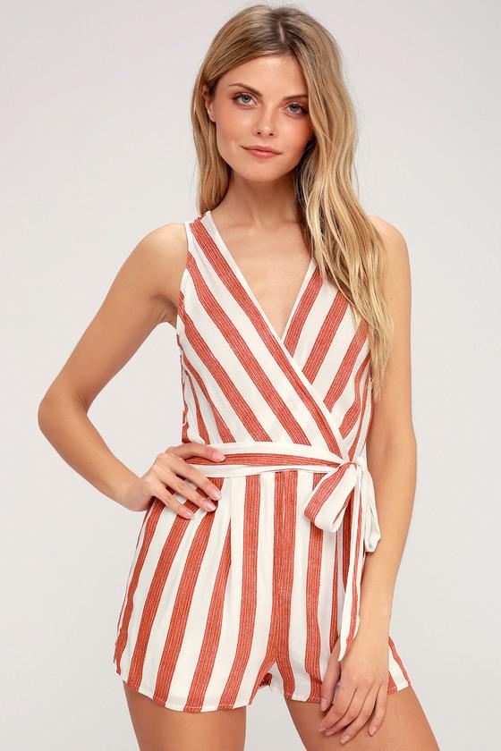a8cbbbe55a1 Cute Red and White Striped Romper - Sleeveless Romper