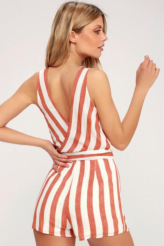 8135ba0c15 Cute Red and White Striped Romper - Sleeveless Romper