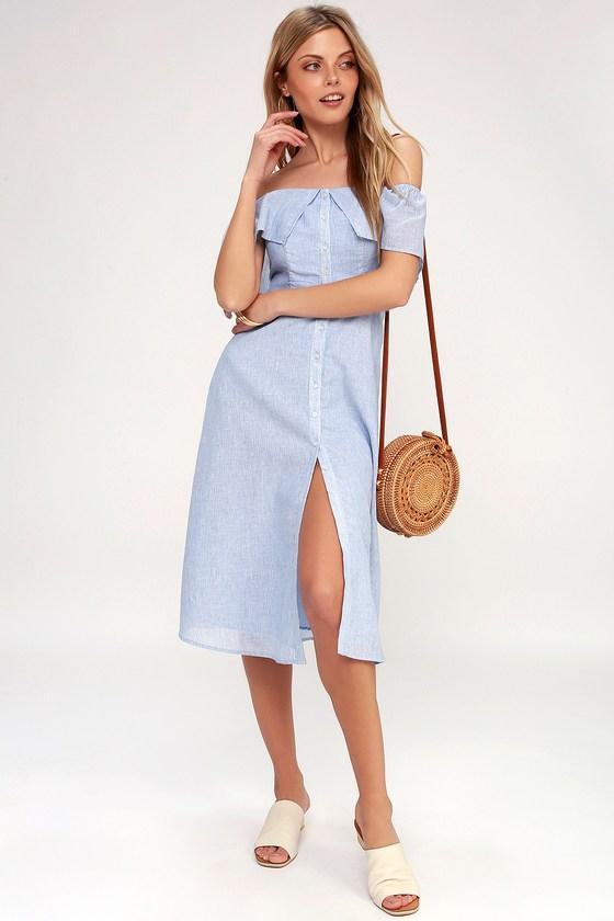 3cc155ba6bd6 BB Dakota Jeanne - Blue and White Striped Dress - Midi Dress