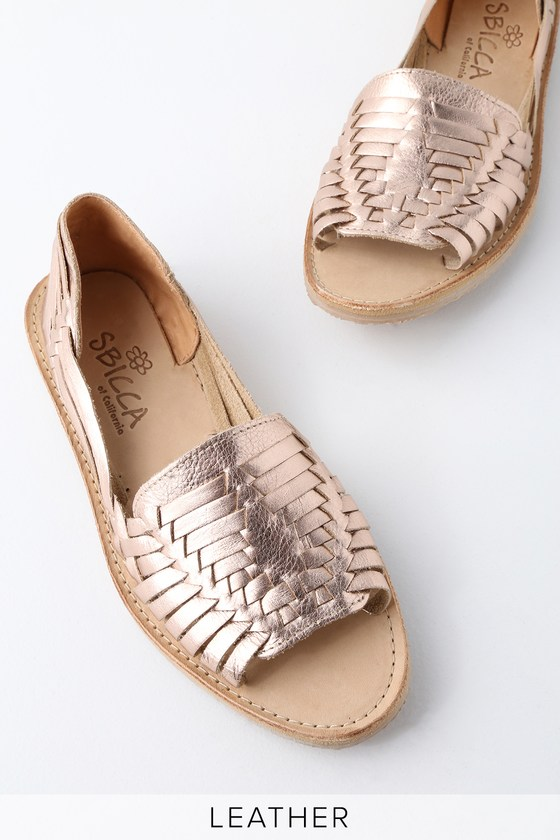 8621b4bab281e5 Sbicca Jared Flats - Rose Gold Leather Huarache Sandals