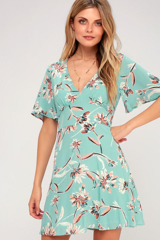 c7fc1846f60 Cute Floral Dress - Aqua Dress - Short Sleeve Dress