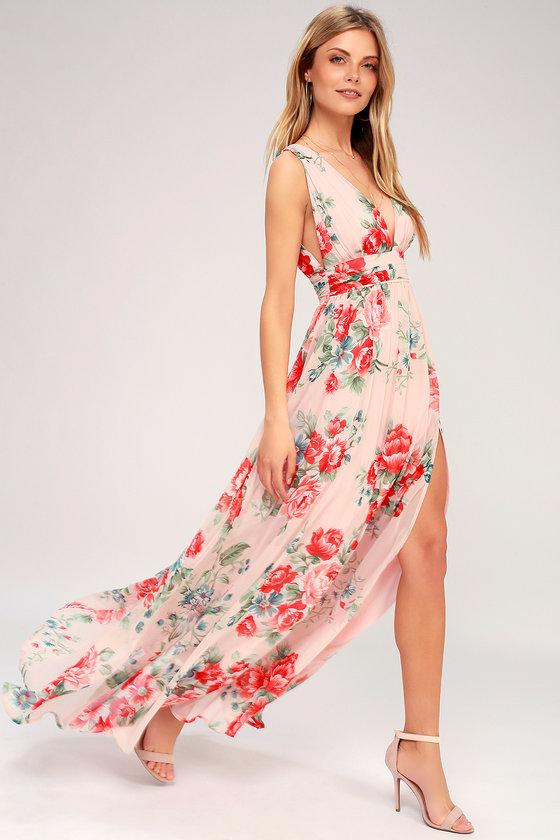 0d15f54486b6 Stunning Blush Dress - Floral Print Maxi Dress - Gown