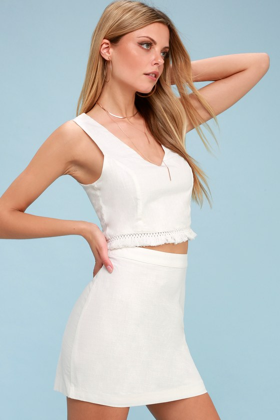 c8528f0b3 Chic White Two-Piece Dress - Fringe Two-Piece Set