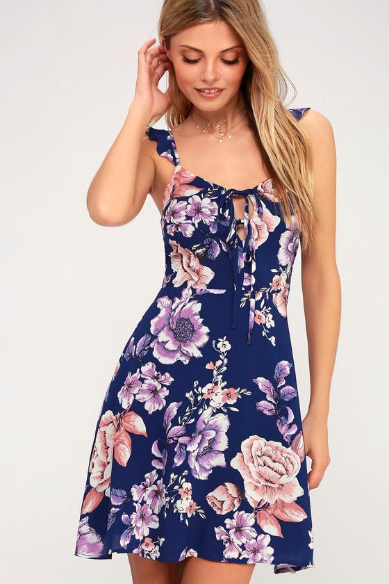 4eb26fbe0b2 J.O.A. Royal Blue Dress - Floral Print Dress - Skater Dress