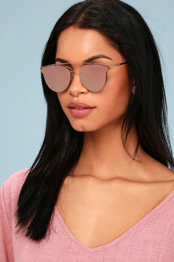 Perverse Mae - Rose Gold and Pink Mirrored Sunglasses - Lulus