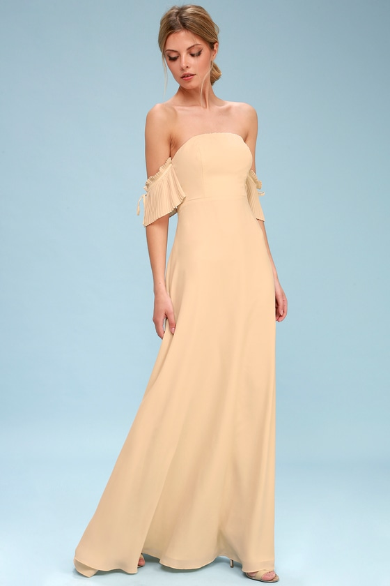 852ab9079299 Chic Maxi Dress - Nude Dress - Off-the-Shoulder Dress