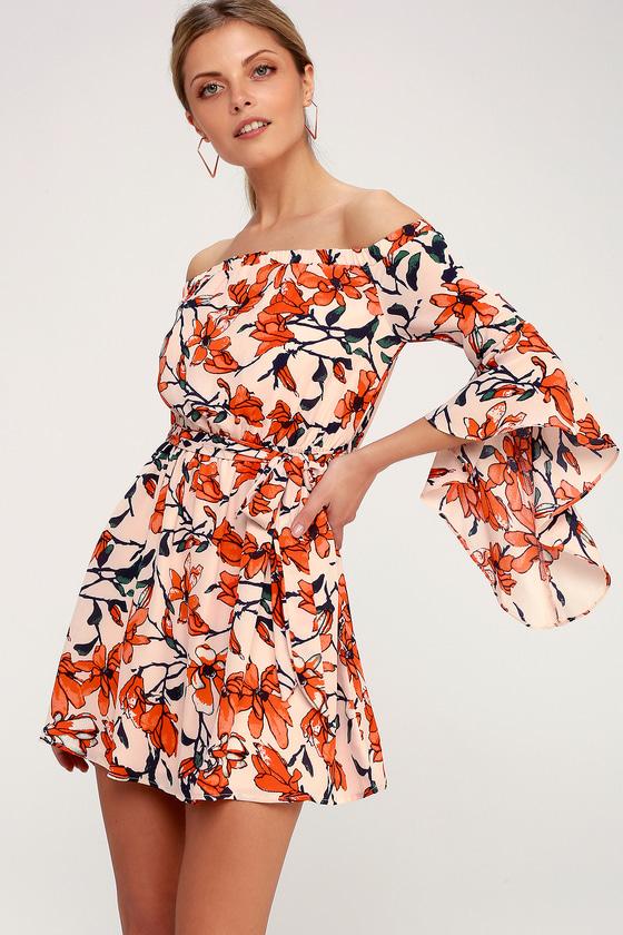 843338a1fc8 Lovely Nude Floral Print Dress - Off-the-Shoulder Dress