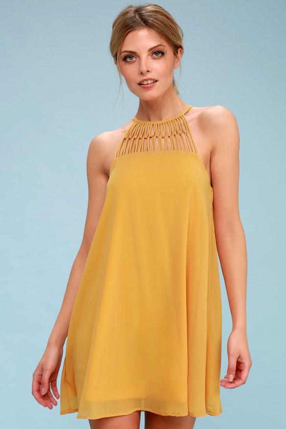 Tell Me Mustard Yellow Swing Dress