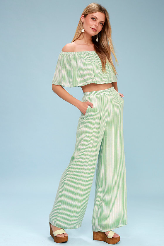 8b19f2c1c4e Birch Sage Green Striped Off-the-Shoulder Two-Piece Jumpsuit