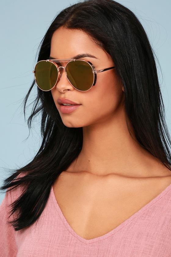 4da67e05ca7 Classic Rose Gold Sunglasses - Mirrored Aviator Sunglasses