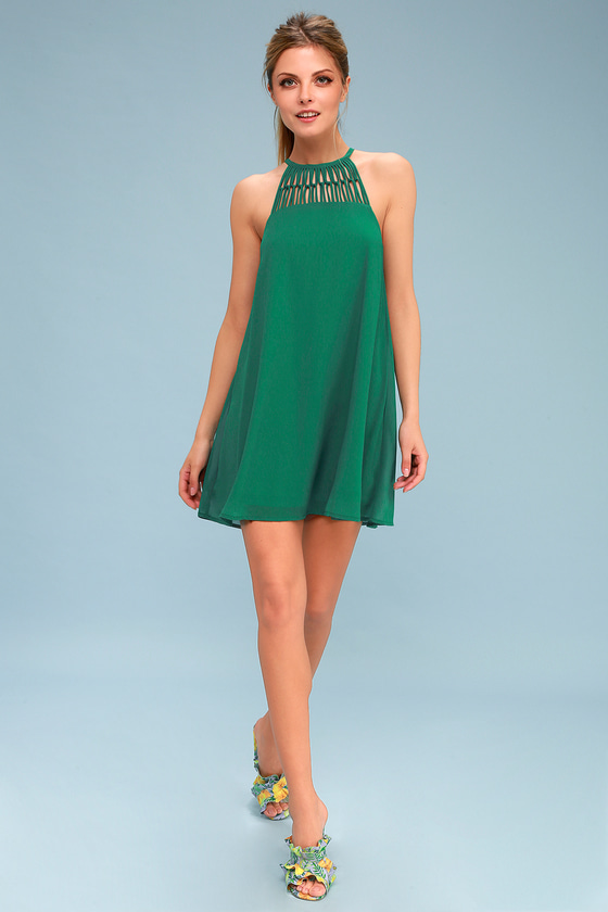 c06163def708 Cute Green Dress - Swing Dress - Caged Dress