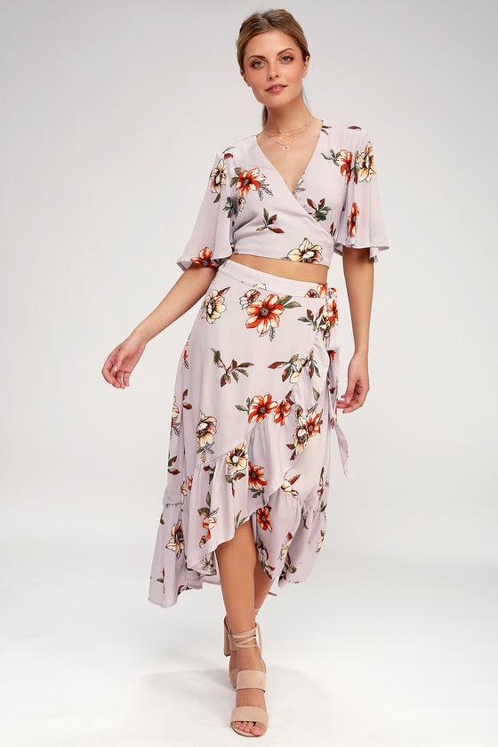 8b7eaecfa5 Lovely Two-Piece Dress - Floral Dress - Wrap Dress