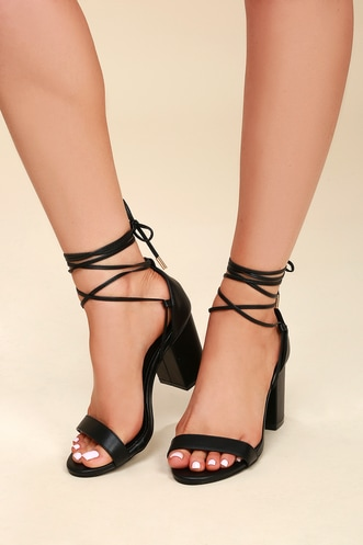 dc75838f7d9 Kaira Black Lace-Up Heels