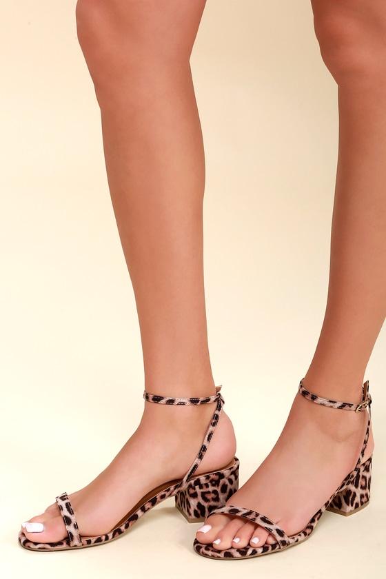 Lulus Johnnie Leopard Flat Ankle Strap Sandal Heels - Lulus 0vgmCECu