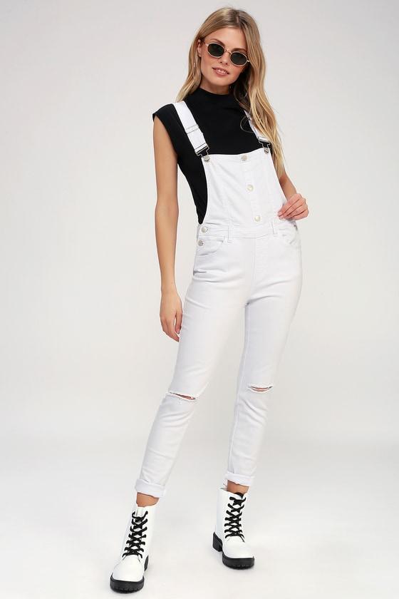 f58e59afd7a Cute White Overalls - Distressed Overalls - Skinny Overalls