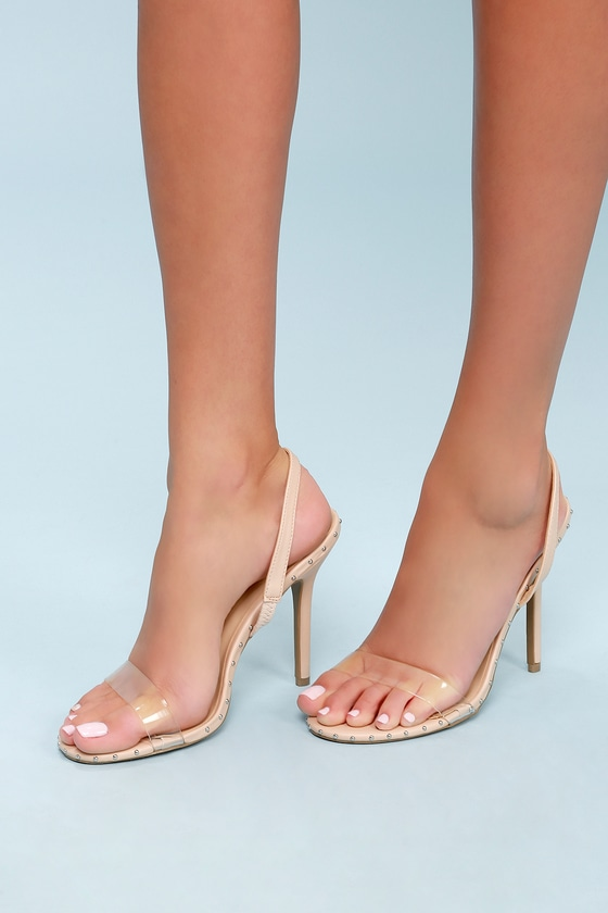 761860a48c2 Sexy Nude Heels - Vinyl Strap Heels - Slingback Heels