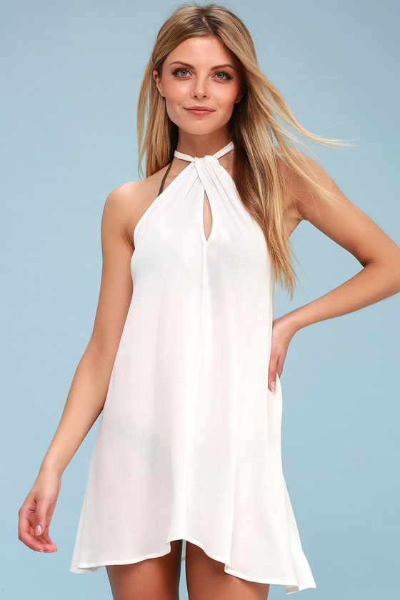 7601f69fe4 Cute White Cover-Up - Swim Cover-Up - Halter Shift Dress