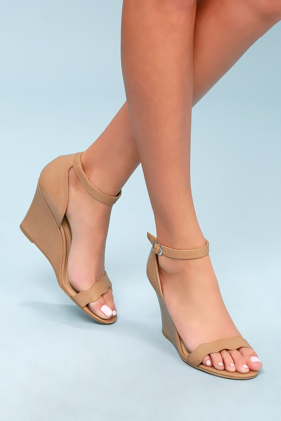 00c5f3ede79 Pink Nude gladiator wedge sandals CL by Laundry gladiator wedge