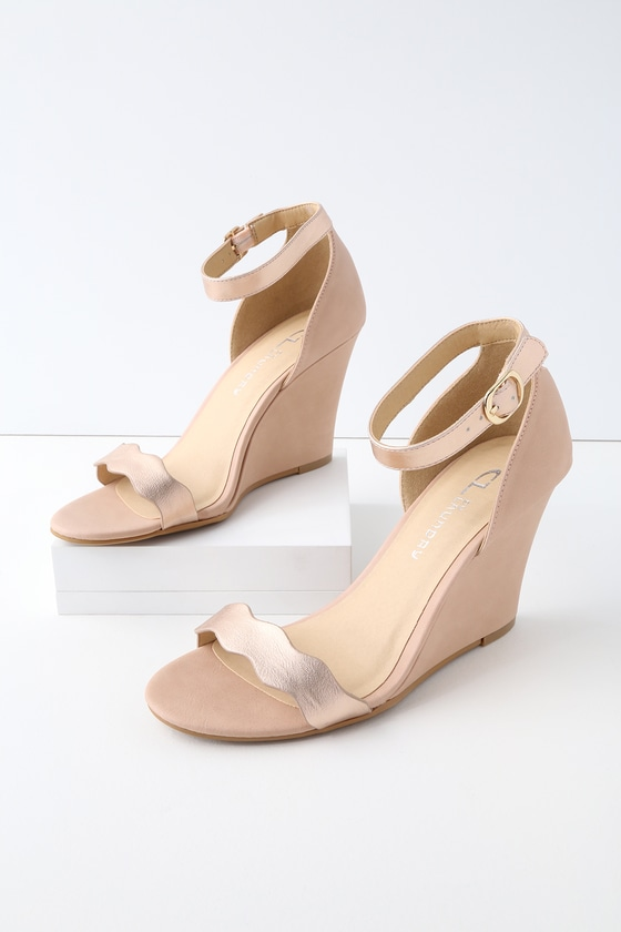 79ecf9b8b Pink Nude gladiator wedge sandals CL by Laundry gladiator wedge